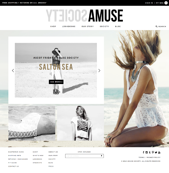 The Amuse Society website using Side Commerce ecommerce saas